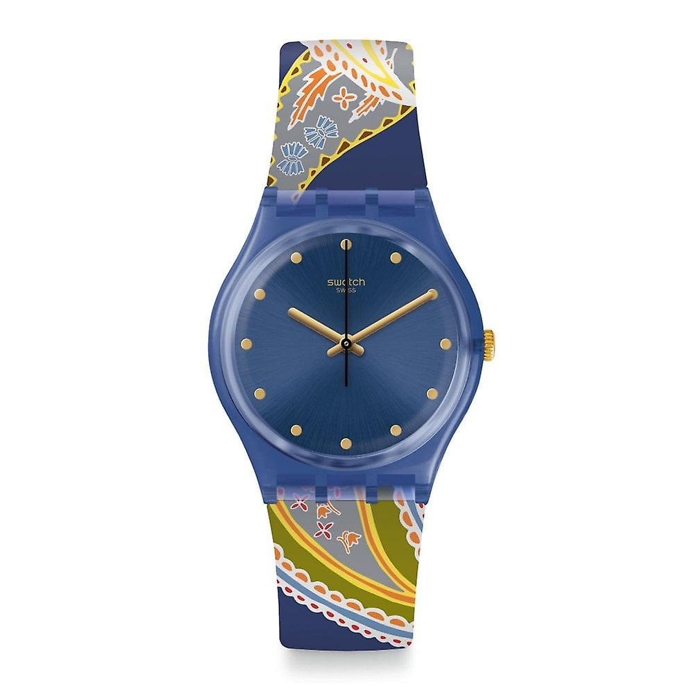 Swatch Gn263 Silky Way Navy & Multi Colour Pattern Silicone Watch