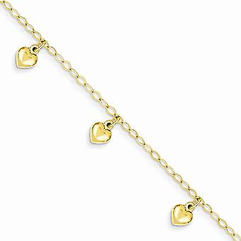 14k Yellow Gold Dangle Polished Lobster Claw Closure for boys or girls Puffed Love Heart Charm Bracelet 6 Inch