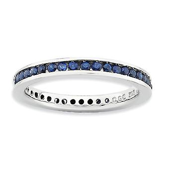 2,5mm 925 Sterling Silver Channel conjunto Rhodium plated Stackable Expressions Polished Created Sapphire Ring Jewely Gifts