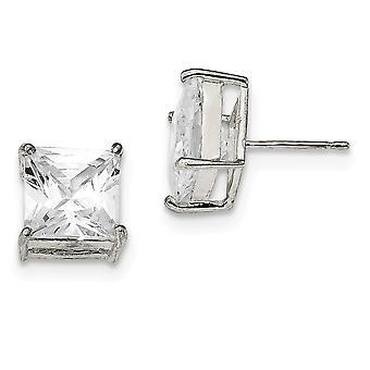 925 Sterling Silver Post Boucles d'oreilles Panier réglage 10mm Square CZ Cubic Zirconia Simulated Diamond Basket Set Stud Earring