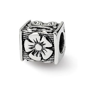 925 Sterling Silver Antiquário Acabamento Reflections SimStars Floral Cube Bead Charm Piny Piny Jewely Gifts for Women