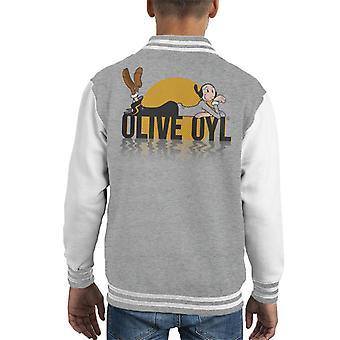 Popeye Olive Oyl Dark Text Kid's Varsity Jacket