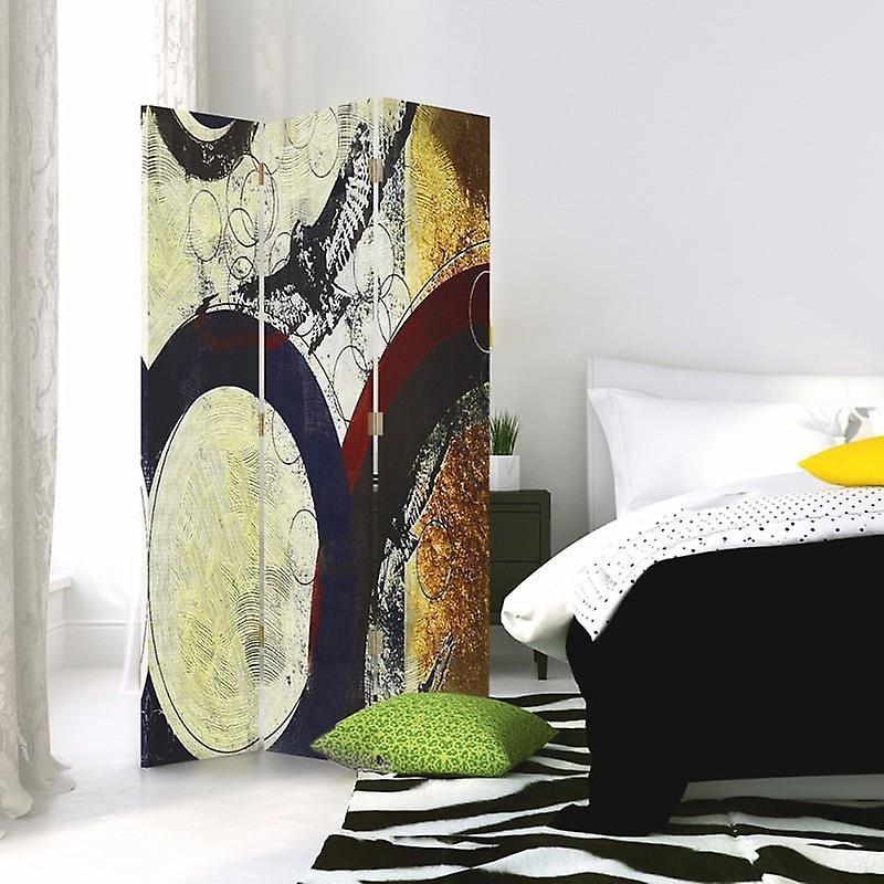 Diviseur de chambre, 3 panneaux, unilatéral, toile, roues abstraites