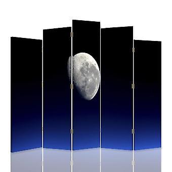 Dekorativa rumsavdelare, 5 paneler, dubbelsidig, canvas, måne