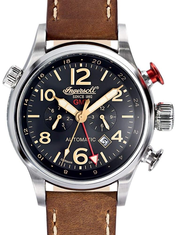 Ingersoll In3218bk Lawrence Gmt automatic mens watch 46mm