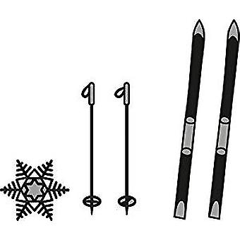 Ecstasy Crafts Marianne Design Craftables Dies-Skis and Snowflake, Up to .25-inch x 3.5-inch