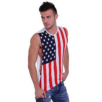 Men's Proud American United States Flag USA Open Side Tank T-Shirt