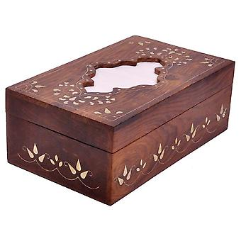 Handmade Tissue Holder Box Cover In Mango Wood With Brass Inlays