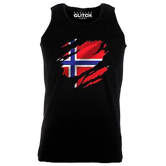 Reality glitch torn norway flag mens vest