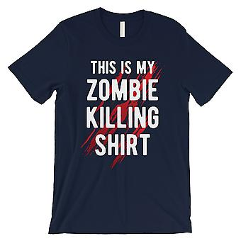 Zombie Killing Mens Navy Charming Strong Halloween Costume T-Shirt