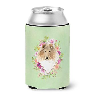 Carolines Treasures  CK4376CC Collie Green Flowers Can or Bottle Hugger