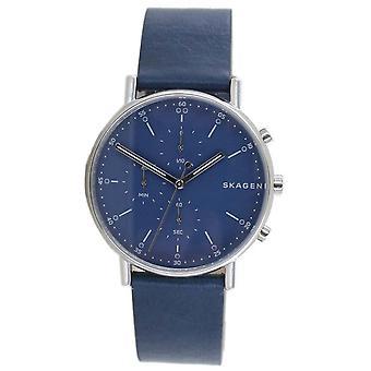 Skagen reloj de hombre reloj de pulsera cronógrafo cuero azul SKW6463