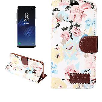 Für Samsung Galaxy S8 PLUS Brieftasche Fall, blumigen Druck stilvolle Lederbezug, weiß