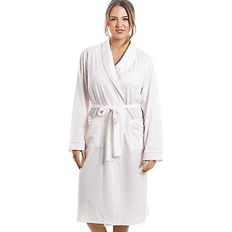 Camille Soft Cosy Knee Length Long Sleeve Pink Polka Dot Dressing Gown