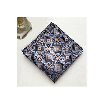 JSS Blue & Orange Floral Silk Pocket Square