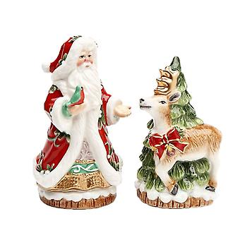 Victorian Harvest Santa Reindeer Christmas Holiday Salt and Pepper Shaker Set