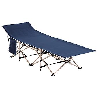 Outsunny Single Person Camping Folding Cot Outdoor Patio Portable Military Sleeping Bed Travel Guest Leisure Fishing with Side Pocket and Carry Bag  - Blue