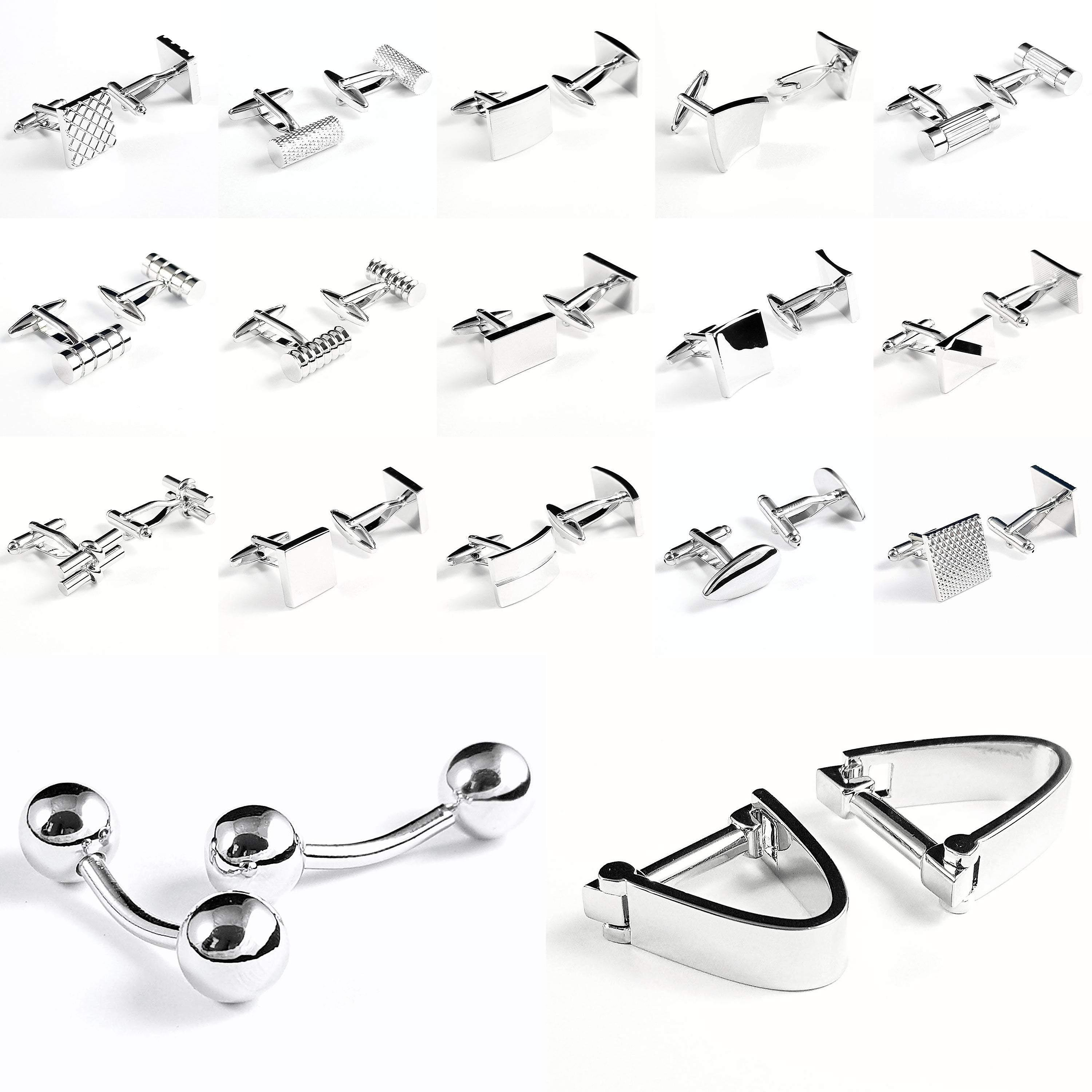 Beveled stainless steel wedding quality suit cuff links