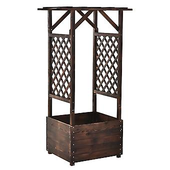 Outsunny Solid Wood Climbing Plant Stand Vine Display Rack Outdoor Garden Organizer Flower Bed