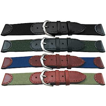 Fabric and leather watch strap 18mm and 20mm with stainless steel buckle