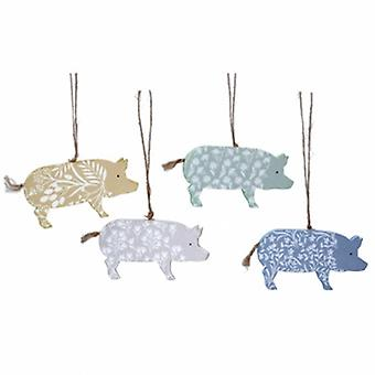 Gisela Graham Easter Decorations - 4 Wood Pigs | Handpicked Gifts