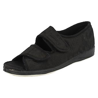 Ladies Padders Wide Fitting Open Toe Slippers Lydia