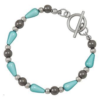 Eternal Collection Eureka Aquamarine Lucite And Hematite Beaded Bracelet