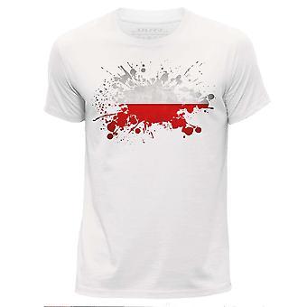 STUFF4 Men's Round Neck T-Shirt/Poland/Polish Flag Splat/White