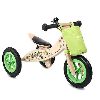 Byox Wood Balance Bike Be Happy 2 verstelbaar in 1 PVC Air Tire 10 Inch PU Zadel