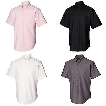 Henbury Mens klassieke Oxford werk Shirt met korte mouwen