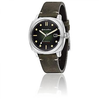 Watch Spinnaker SP-5059-03 - Hull returned gray black dial steel case leather strap Automatic and green man