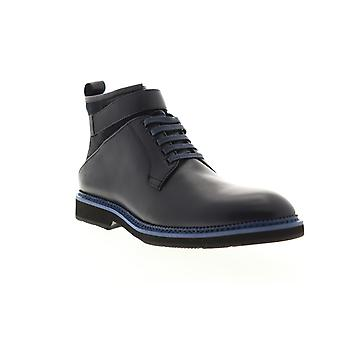 Zanzara Ginko  Mens Blue Leather Lace Up Casual Dress Boots Shoes