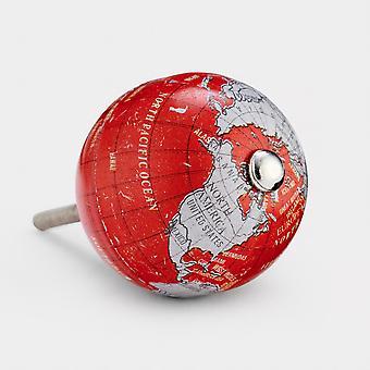 Aluminium Door Knob - Red / Grey - Globe