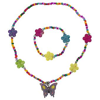 Filles TOC violet papillon fleur multicolore Collier & Bracelet Set