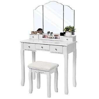 Luxury dressing table with three-piece mirror and stool