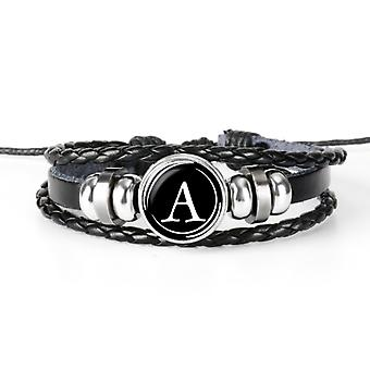 Multi woven faux leather initial braided disc bracelet