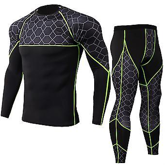 Allthemen Men's Mesh Stitching Long Sleeve Sports Two-Piece Suit