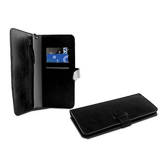 "Universele mobiele hoes - Boek Smartphone 5,5"" KSIX Wallet Zwart"
