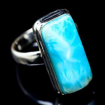 Larimar Ring Size 6 (925 Sterling Silver)  - Handmade Boho Vintage Jewelry RING5436