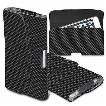 Apple iPhone XS Carbono Negro XLarge Horizontal Faux Leather Belt Funda Cover Funda