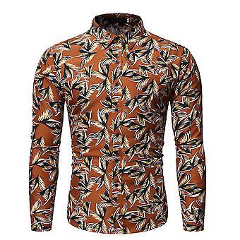 Allthemen Men's Printed Lapel Breathable Long-Sleeved Shirt