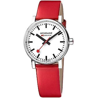 Mondaine evo2 Red Leather Strap 35mm Watch