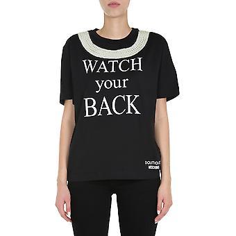 Boutique Moschino 120661406555 Women's Black Cotton T-shirt
