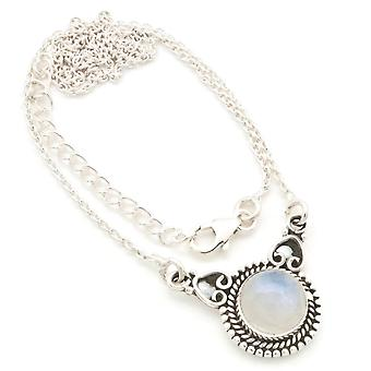 Moonstone Necklace 925 Silver Sterling Silver Chain Necklace White (MCO 10-04)