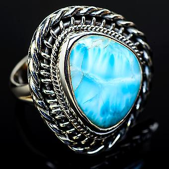 Large Larimar Ring Size 7.25 (925 Sterling Silver)  - Handmade Boho Vintage Jewelry RING11667