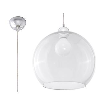 Ball Pendant Light Glass / Transparent Steel / Chrome 1 Bulb