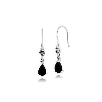 Jugendstil Birne schwarz Onyx & Marcasite Tropfen Ohrringe in 925 Sterling Silber 214E664302925