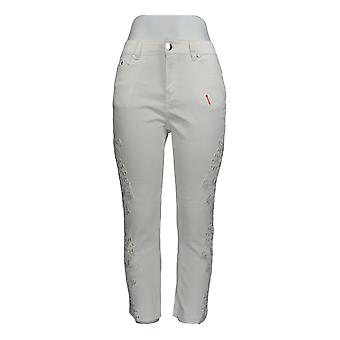 K Jordan Women's Pants Side Lace Cutout Capri White