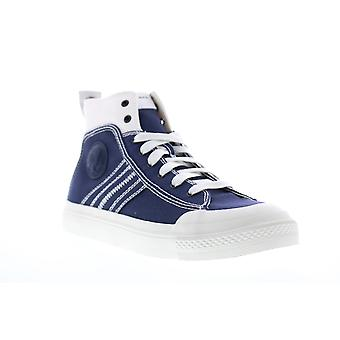 Diesel S-Astico Mid Lace Herren Blau Canvas Casual Fashion Sneakers Schuhe