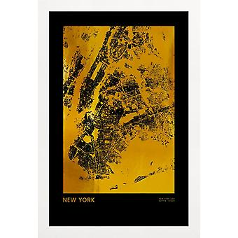 JUNIQE Print - Gold New York - New York Poster in Goud en Zwart